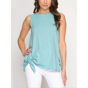 Sleeveless Slub knit Seafoam Side Knot Top